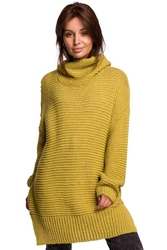 Limonkowy damski sweter oversize z golfem