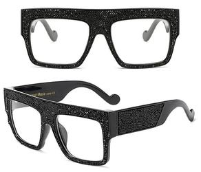 Okulary przeciwsłoneczne cyrkonie czarne - czarne