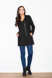 Czarny krótki taliowany płaszcz z asymetrycznym zamkiem
