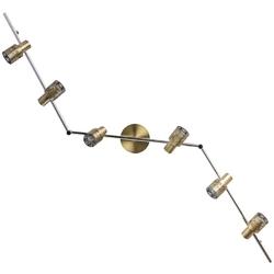 Halogenowy reflektor ścienny, 6-kierunkowy, antyczny mosiądz demarkt techno 540021206