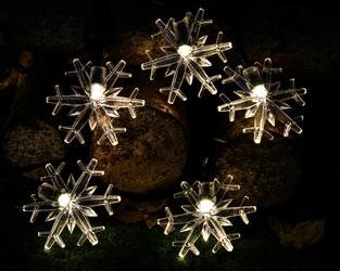 Lampki solarne 30 led joylight śnieżynki z programatorem 8 funkcji ciepły biały