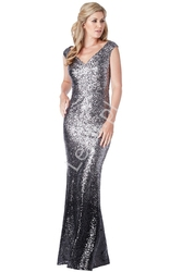 Elegancka suknia cekinowa o kroju syreny, ombre srebrno czarne, by stephanie pratt