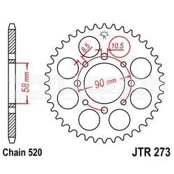 Zębatka tylna stalowa jt 273-44, 44z, rozmiar 520 2301395 honda xl 125