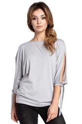 Luźna bluzka z rozciętymi rękawami szara b036