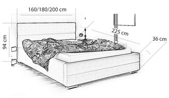 Łóżko tapicerowane elza z pojemnikiem