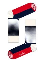 Skarpety Happy Socks Half Stripe - SH01-068 - granatowo - czerwono - białe
