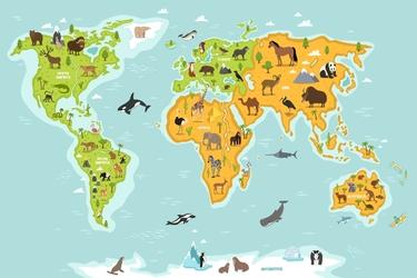 Fototapeta mapa świata zwierzęta 3689