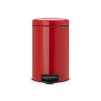 Brabantia - kosz newicon - 12 l - plastikowe wiadro i wolnoopadająca pokrywa - czerwony - czerwony
