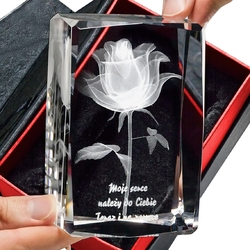Róża 3d kwiat miłości ♥ personalizowana piękna statuetka • grawer 3d