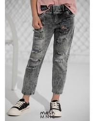 Spodnie jeansowe boyfriend unisex ice dye light black