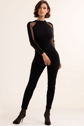 Elegancki czarny kombinezon z siateczką