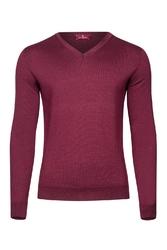 Bordowy sweter męski z wełny merino w serek xs