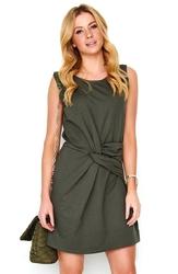 Khaki krótka sukienka z efektowym przełożeniem