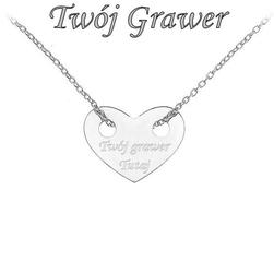 Celebrytka serce łańcuszek 45cm srebro925 grawer