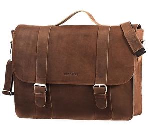 Skórzana torba męska brodrene bl11xl jasnobrązowa - j. brązowy