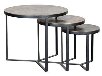 Metalowy okrągły stolik bronce  zestaw 3 szt.