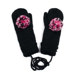 Rękawiczki z POMPONEM damskie czarne - BLACK
