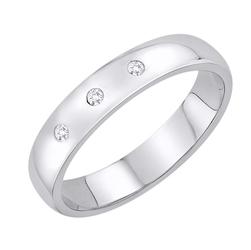 Staviori obrączka. 3 diamenty, szlif brylantowy, masa 0,04 ct., barwa h, czystość si2. białe złoto 0,585. szerokość 4 mm. grubość 1 mm.  dostępne inne kolory złota.