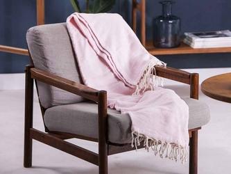 Koc  pled bawełniany z frędzlami altom design różowy 130 x 170 cm