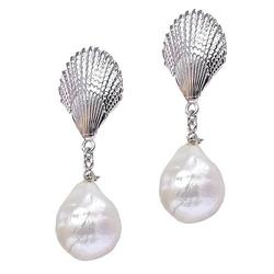 Marina kolczyki srebrne wiszące duże białe perły barokowe sztyft