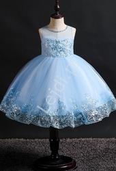Błękitna tiulowa sukienka dla dziewczynki z cekinami i haftem  561
