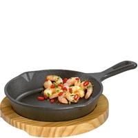 Patelnia grillowa okrągła mini z drewnianą podstawką do serwowania kuchenprofi ku-0305101016