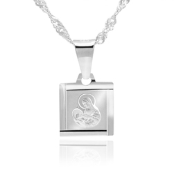 Srebrny medalik pr. 925 matka boska karmiąca chrzest komunia św. z grawerem