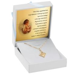 Złoty medalik z łańcuszkiem pr. 585 matka boska z dzieciątkiem chrzest komunia grawer - białe z niebieską kokardką