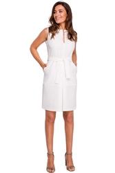 Ecru ołówkowa sukienka bez rękawów z kontrafałdą