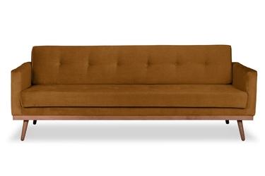 Sofa klematisar z funkcją spania welurowa 3-osobowa  deluxe - welur łatwozmywalny wood