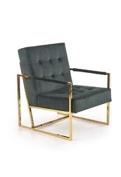 Fotel nowoczesny tapicerowany - velvet - metalowe nogi - prius zielony