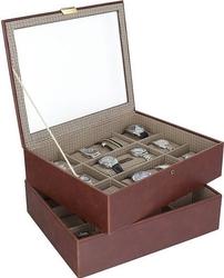 Pudełko na zegarki podwójne stackers 18 komorowe karmelowe kratka