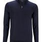 Granatowy sweter z wełny z merynosów z golfem zapinanym na zamek l