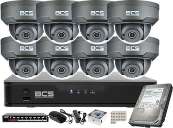 Monitoring firmy sklepu magazynu 8 kamer 4mpx bcs bcs-p-214rwsa-g