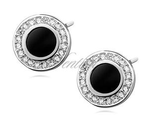 Srebrne pr.925 okrągłe kolczyki z czarnym kamieniem