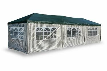 Pawilon handlowy 3x9 m, biało zielony namiot ogrodowy ze ściankami