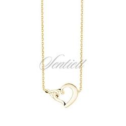 Srebrny naszyjnik pr.925 serce i znak nieskończoności - pozłacany - żółte złoto