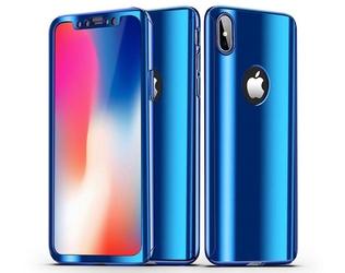 Etui voero 360 apple iphone x xs błyszczące niebieskie + szkło - niebieski