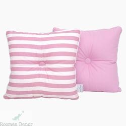 Poduszka dekoracyjna 28x28 - pasy - różowe