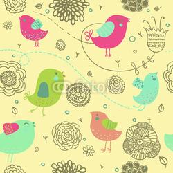 Obraz na płótnie canvas dwuczęściowy dyptyk Ładne tło wiosna - ptaki kreskówki w kwiatach
