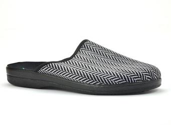 Pantofle pełne męskie adanex 25147 czarny+szary