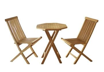 Stół 2 krzesła zestaw drewniany ogrodowy z drewna tekowego