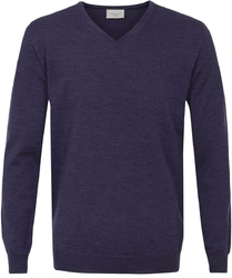 Sweter  pulower v-neck z wełny z merynosów w kolorze jasno fioletowym s