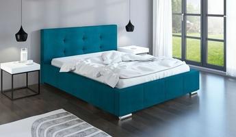 Łóżko tapicerowane do sypialni orianna z pojemnikiem na pościel