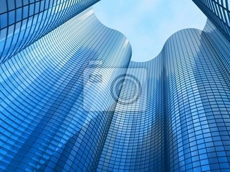 Fototapeta budynek biurowy na tle błękitnego nieba