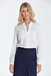 Ecru elegancka koszulowa bluzka z dekoltem w szpic