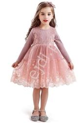 Różowa dziecięca sukienka z tiulową obfitą spódnicą 0081
