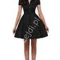 Czarna rozkloszowana sukienka w drobne białe kropki, pin up na wesele 6089-9