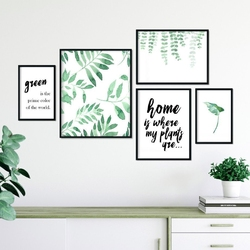 Galeryjka plakatów - house of plants , kolor ramki - biały, wymiary galerii - 40cm x 50cm 1 sztuka + 30cm x 40cm 2 sztuki + 20cm x 30cm 2 sztuki