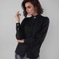 Czarna elegancka koszula na stójce z ozdobnymi guzikami
